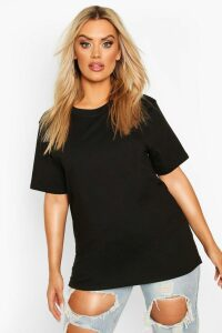 Womens Plus Round Neck Cotton Tee - black - 20, Black