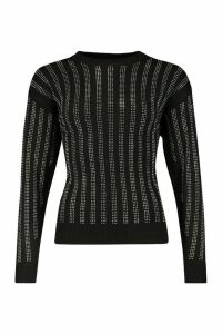 Womens Petite Sequin Panelled Knitted Jumper - Black - M, Black