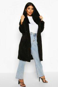 Womens Petite Oversized Hooded Teddy Coat - black - 14, Black