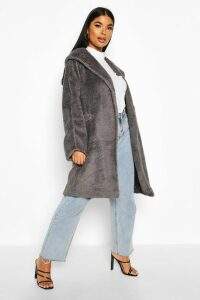 Womens Petite Oversized Hooded Teddy Coat - Grey - 10, Grey