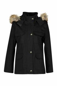 Womens Petite Faux Fur Trim Utility Pocket Parka Jacket - Black - 4, Black