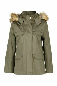 Womens Petite Faux Fur Trim Utility Pocket Parka Jacket - Green - 6, Green