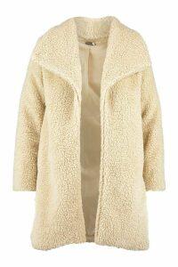 Womens Plus Shawl Collar Teddy Faux Fur Jacket - beige - 14, Beige
