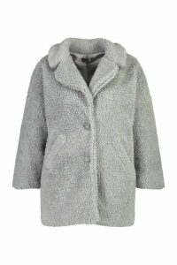 Womens Plus Faux Fur Teddy Coat - grey - 14, Grey