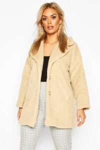 Womens Plus Faux Fur Teddy Coat - beige - 14, Beige