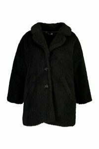 Womens Plus Faux Fur Teddy Coat - black - 14, Black