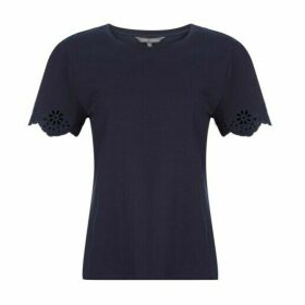 Navy Embroidered Scallop TeeShirt