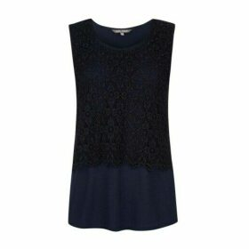 Navy Sleevless Lace Layer Top