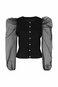 Womens Knitted Organza Sleeve Cardigan - black - S, Black