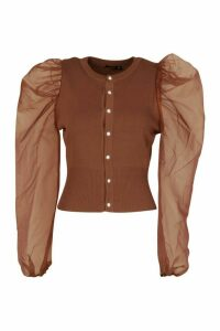 Womens Knitted Organza Sleeve Cardigan - brown - M, Brown