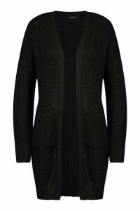 Womens Fisherman Edge To Edge Boyfriend Cardigan - black - M, Black