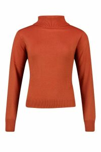 Womens Roll Neck Knitted Jumper - brown - M, Brown