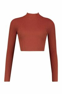 Womens roll/polo neck Rib Knit Crop Jumper - brown - M, Brown