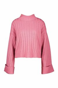 Womens Wide Sleeve Rib Knit Jumper - Pink - L, Pink