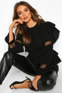Womens Lace Up Crochet Ruffle Detail Top - black - 12, Black