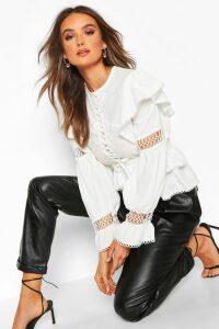 Womens Lace Up Crochet Ruffle Detail Top - White - 14, White