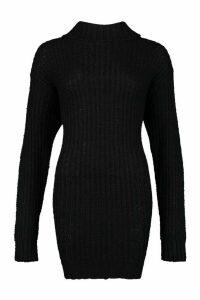 Womens Roll Neck Fisherman Jumper Dress - black - M, Black