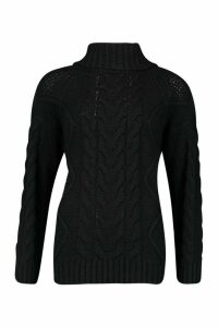 Womens Roll Neck Cable Knit Jumper - black - M, Black