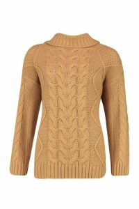 Womens Roll Neck Cable Knit Jumper - beige - L, Beige