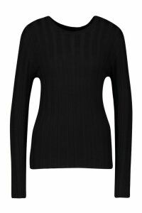 Womens Rib Knit Fitted Jumper - black - M, Black