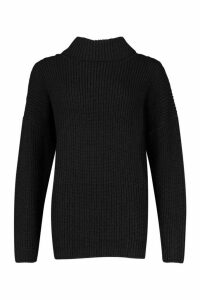 Womens Roll Neck Oversized Jumper - black - M, Black