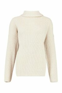 Womens Roll Neck Oversized Jumper - beige - M, Beige