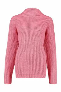 Womens Roll Neck Oversized Jumper - Pink - L, Pink