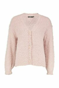 Womens Button Through Fluffy Texture Knit Cardigan - pink - L, Pink