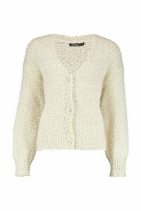 Womens Button Through Fluffy Texture Knit Cardigan - white - M, White