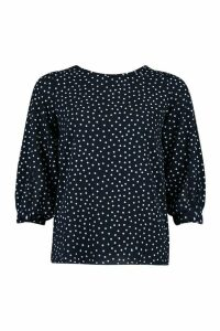 Womens Polka Dot Bow Sleeve Woven Blouse - navy - 14, Navy