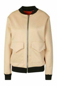 Womens Pocket Front Contrast Lined Bomber Jacket - beige - 14, Beige