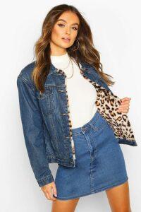 Womens Faux Leopard Fur Denim Jacket - Blue - 14, Blue