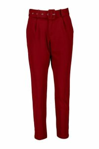 Womens Self Belt Tailored Trouser - 8, Red