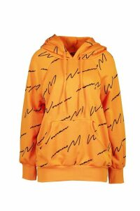 Womens Woman Script All Over Print Oversized Hoodie - orange - 22-24, Orange
