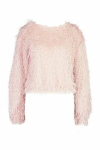 Womens Feather Knit Jumper - pink - 14, Pink