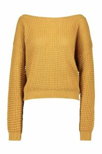 Womens Petite Off The Shoulder Waffle Knit Jumper - beige - M, Beige