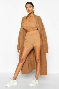 Womens Premium Fluffy Knit Maxi Cardigan - beige - S/M, Beige