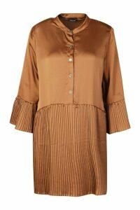 Womens Satin Pleated Hem And Sleeve Smock Dress - Beige - 12, Beige