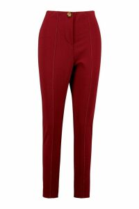 Womens Tapered Leg Trouser With Contrast Stitching - 14, Red