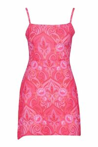 Womens Woven Paisley Print Square Neck Mini Dress - Pink - 8, Pink