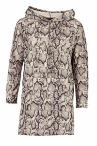 Womens Snake Print Hooded Sweatshirt - beige - 16, Beige