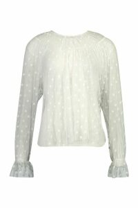 Womens Spot Mesh Smock Top - White - 14, White