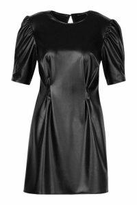Womens PU Puff Sleeve Skater Dress - black - 14, Black