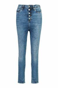 Womens Button Front Slit Knee Skinny Jean - Blue - 8, Blue