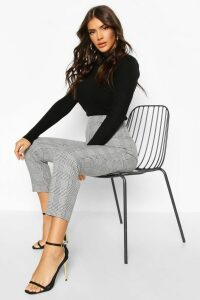 Womens Prince Of Wales Check Tapered Trouser - grey - 10, Grey