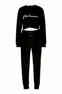 Womens Velvet Drawcord Hoodie and Jogger Tracksuit - black - 16, Black