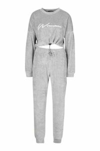 Womens Velvet Drawcord Hoodie and Jogger Tracksuit - grey - 12, Grey