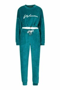 Womens Velvet Drawcord Hoodie and Jogger Tracksuit - green - 16, Green
