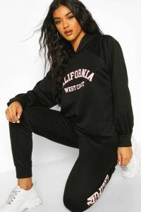 Womens California Slogan Hoodie Tracksuit - black - 12, Black