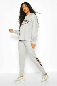 Womens California Slogan Hoodie Tracksuit - grey - 14, Grey